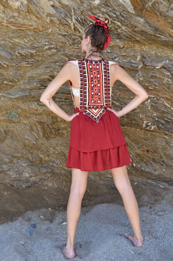 Celia Dragouni The Ethnic Red Tassel Mini Dress