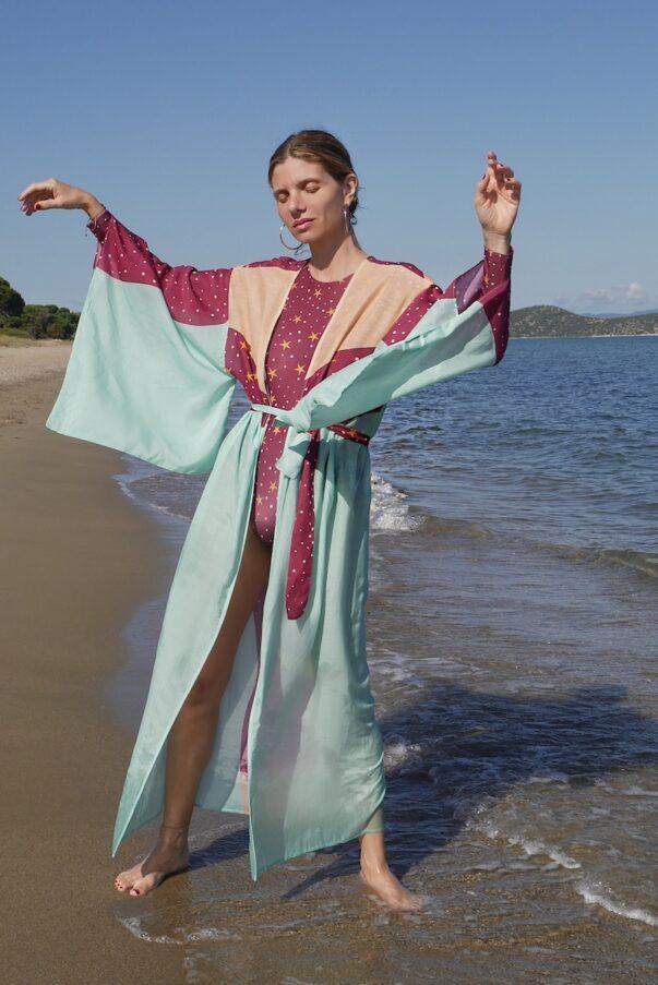 Celia Dragouni The Turquoise Eagle Moon Kimono