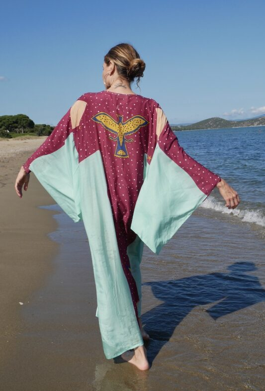Celia Dragouni The Turquoise Eagle Moon Kimono
