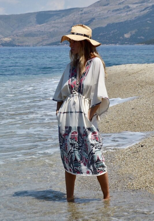 Celia Dragouni The Piassa Midi Kaftan Dress