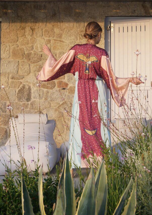 Celia Dragouni The Turquoise Eagle Moon Kimono Dress