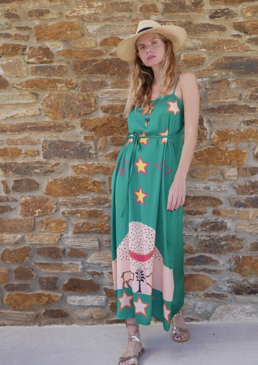 Celia Dragouni The Green Buffalo Star Slip On Dress