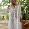 Celia Dragouni The White Cotton Star Long Kaftan Dress