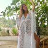 Celia Dragouni The White Cotton Star Long Kaftan Dress