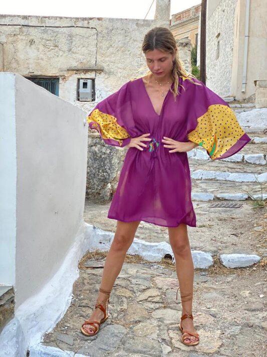 Celia Dragouni The Purple Buffalo Star Mini Kaftan Dress