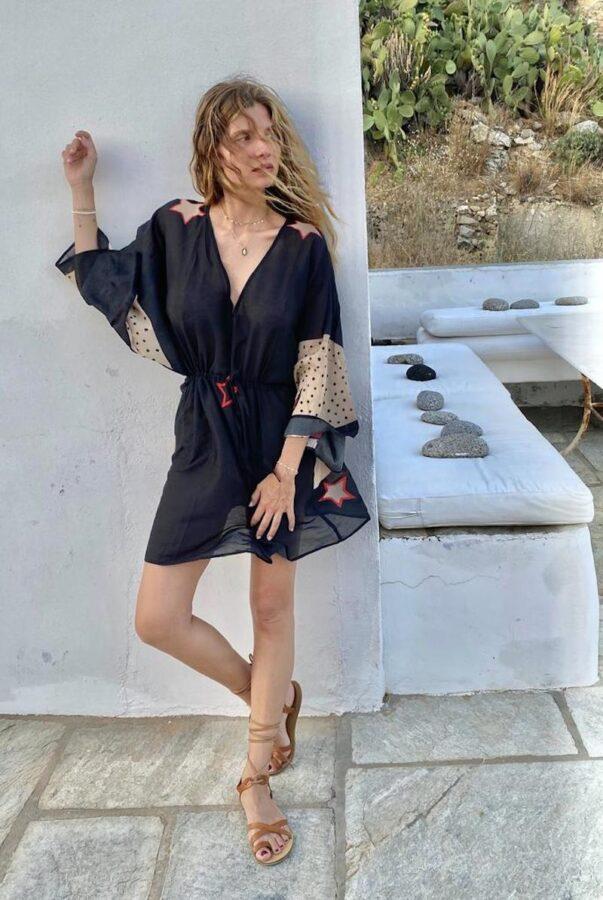 Celia Dragouni The Midnight Buffalo Star Mini Kaftan Dress