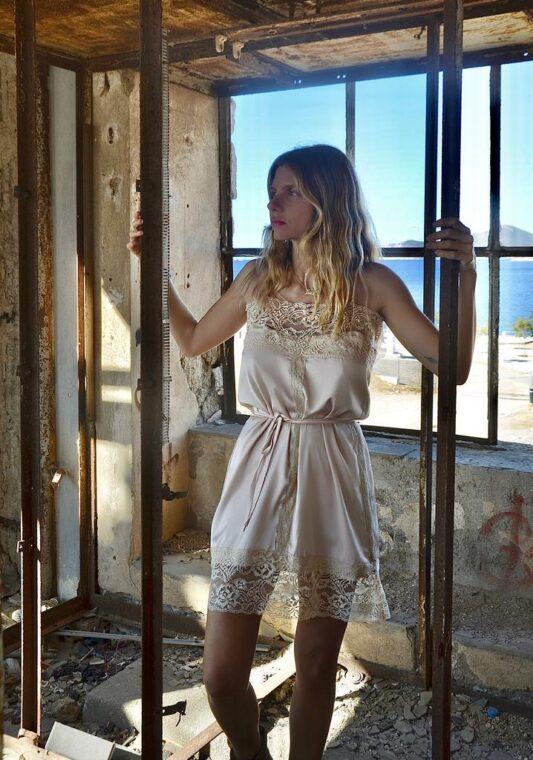 Celia Dragouni The Silky Powder Negligee Dress