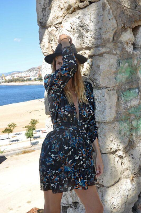 Celia Dragouni The Blue Flower Ruffled Dress