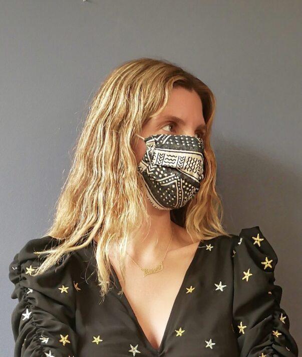 Celia Dragouni The Afro Black Woven Mask