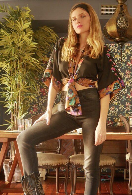 Celia Dragouni The Black Floral Patchwork Top