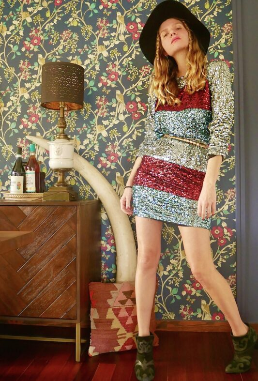 Celia Dragouni The Sequin Striped Mini Dress
