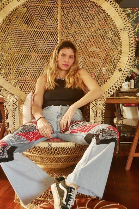 Celia Dragouni The Bandana Patchwork Flare Jeans