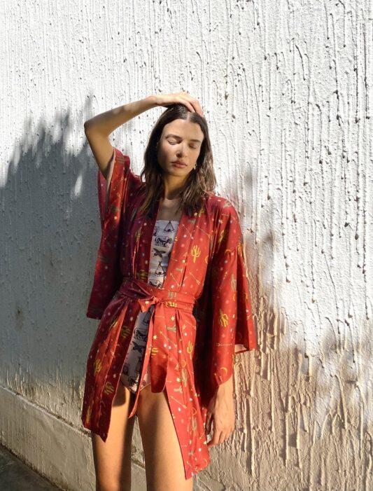 Celia Dragouni The Tile Happy Cactus Kimono