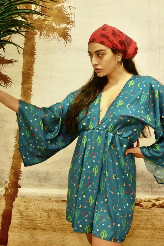 Celia Dragouni The Happy Cactus Petrol Kimono Dress