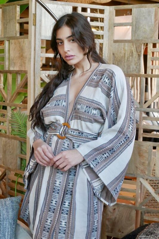 Celia Dragouni The Taupe Afro Mini Dress