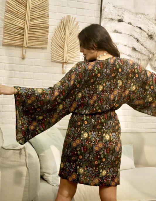 Celia Dragouni Jungle Circus Mini Kimono Dress