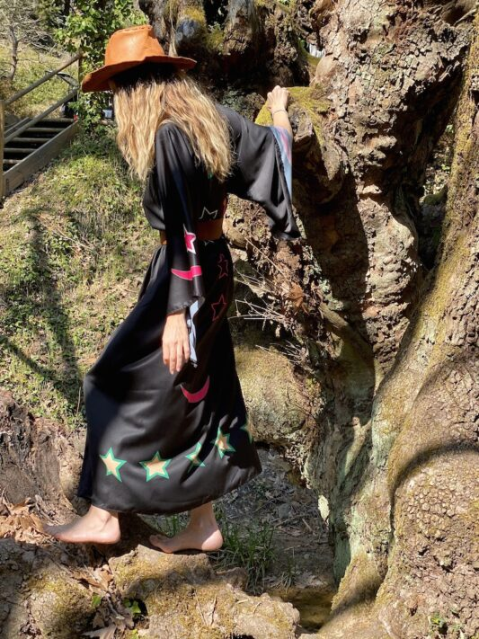 Celia Dragouni The Green Lucky Duck Kimono Dress