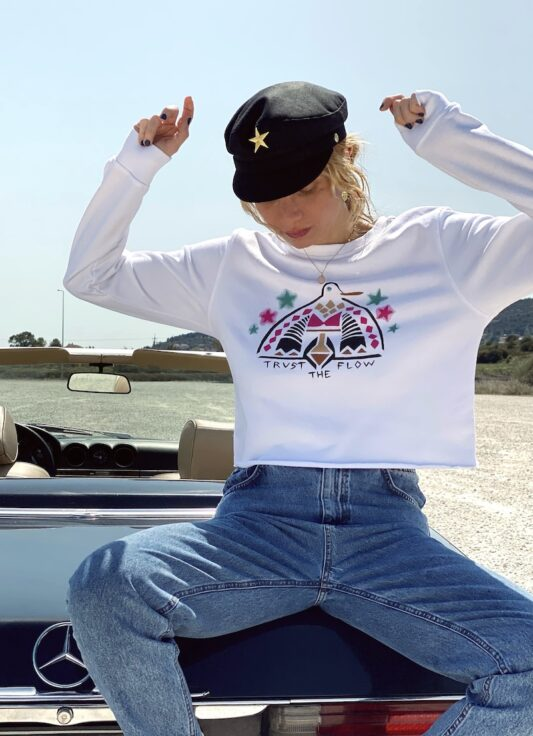 Celia Dragouni The White Flow Duck Crop Sweater