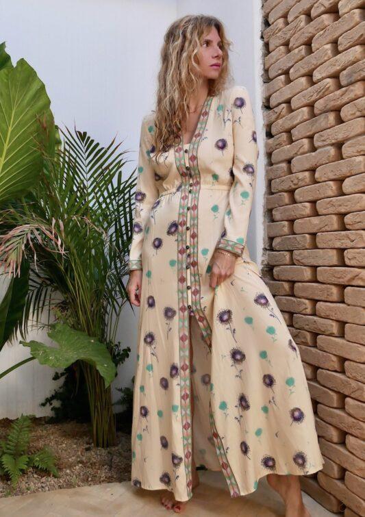 Celia Dragouni The Ecru Dandelion Button Dress