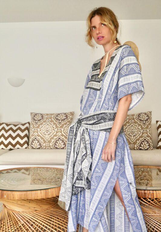 Celia Dragouni The Afro Vibes Blue Kaftan