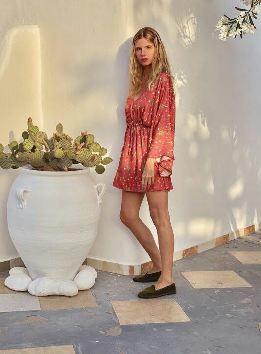 Celia Dragouni The Goldish Happy Cactus Mini Kaftan