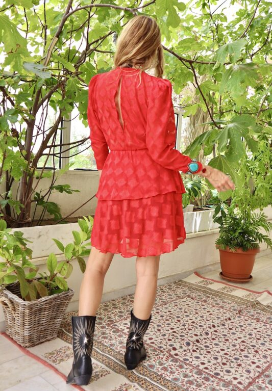 Celia Dragouni The Red Diamond Ruffled Dress