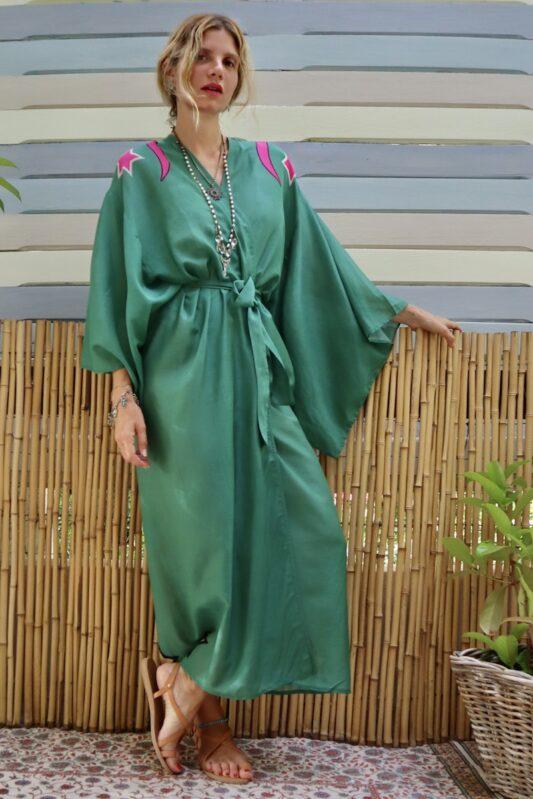Celia Dragouni The Dusty Green Cotton Kimono