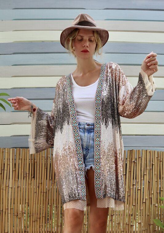 Celia Dragouni The Saffron Sequin Kimono